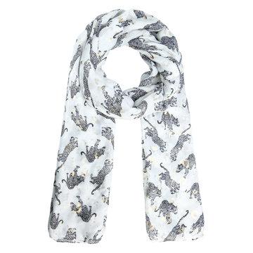 Langwerpige sjaal Footprint|Lange dames shawl|Luipaard|Grijs wit goud