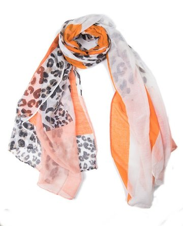 Langwerpige sjaal Happy Panter|Lange dames shawl|Panter luipaard|Wit Oranje