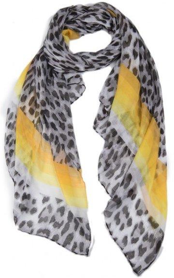 Langwerpige dames sjaal Animal Lines|Grijs geel|Dierenprint
