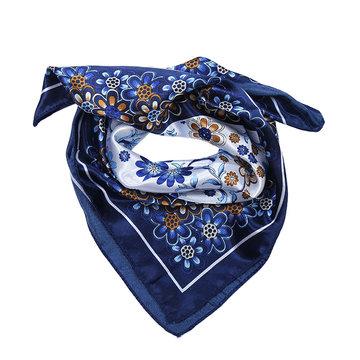 Blauw vierkant sjaaltje Blue Flowers