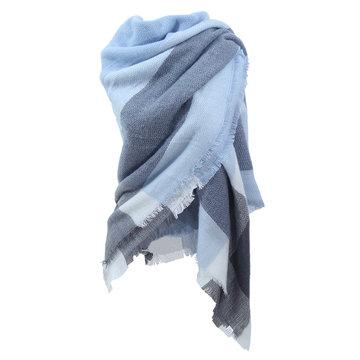 Dames sjaal soft square blauw|Vierkante sjaal|Omslagdoek|Blauw grijs|Geblokt|Extra zacht