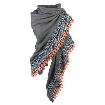 Vierkante dames sjaal happy fringe|Grijs wit koraal oranje|Omslagdoek
