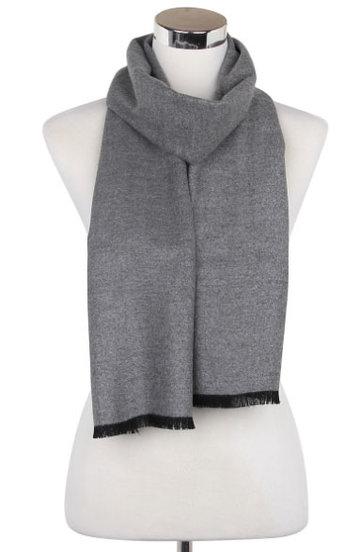 Heren sjaal Plain Colour Grijs|Warme heren shawl|Licht grijs|Fijne franjes