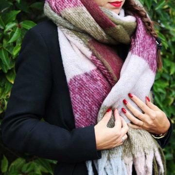 Warme dames sjaal Soft Colour Dream|Lange dames shawl|Extra dikke kwaliteit|Groen roze burgundy|Extra groot