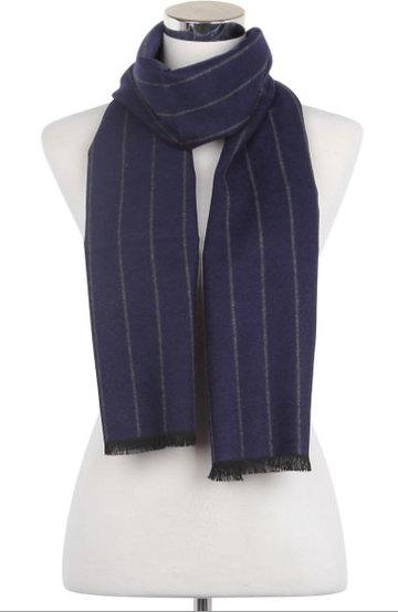 Heren sjaal Blue Stripes|Warme heren shawl|Blauw Grijs|Gestreept|Fijne franjes