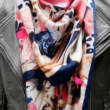 Vierkante dames sjaal Parrot Parade|Vierkante shawl|Omslagdoek|Blauw Roze meerkleurig|Vogels Papegaai|Extra groot