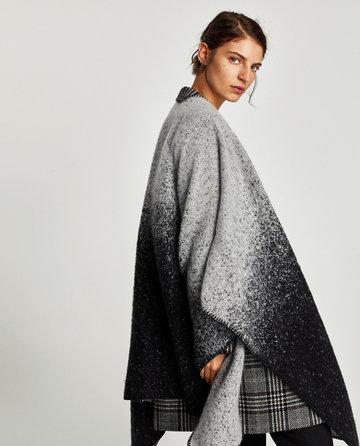 Trendy zachte poncho|Grijs zwart|Zacht acryl