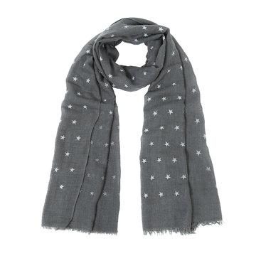 Lange dames sjaal Glitter Stars|Lange shawl|Sterrenprint|Glitter|Grijs