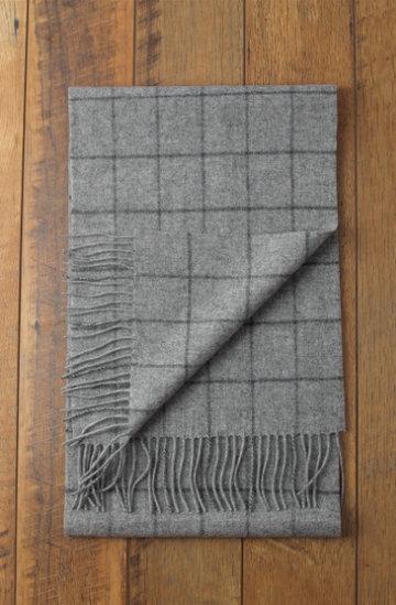 Mooie wollen heren sjaal Simple Check|Wollen shawl|Geruit geblokt|Grijs lichtgrijs