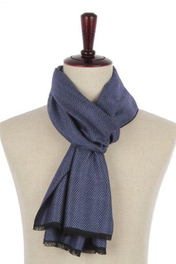 Heren sjaal navy blauw Zigzag|Warme heren shawl|Donkerblauw|Fijne franjes