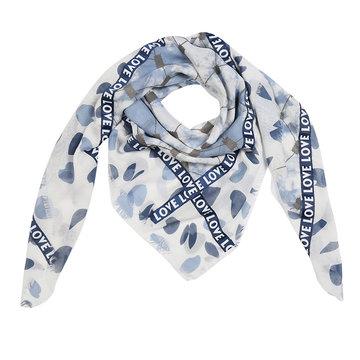 Vierkante dames sjaal Love Madness Vierkante shawl Omslagdoek Ster Blauw wit grijs