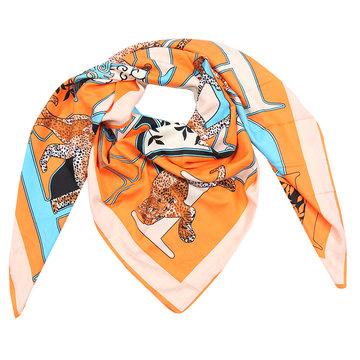 Grote zijden dames sjaal Silk Orange Leopard Vierkante shawl Luipaard print Oranje...