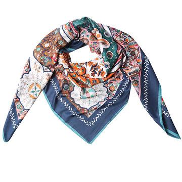 Grote zijden dames sjaal Marrakech Oriental print Vierkante shawl bloemen orient print Blauw bruin groen wit