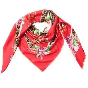 Grote zijden dames sjaal Silky roses Rozenprint Vierkante shawl Rood roze