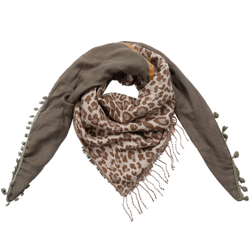 Grote vierkante dames sjaal Wildlife|Vierkante shawl|Luipaardprint geruit|Khaki groen bruin
