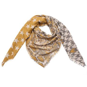 Grote vierkante dames sjaal Starstruck|Vierkante shawl|Luipaard sterren slangen|geel beige grijs