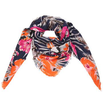 Grote vierkante dames sjaal Grow Love|Vierkante shawl|Bloemenprint|Blauw roze oranje