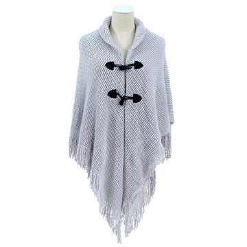 Trendy gebreide poncho Alaska|Driehoek sjaal|Grijs|Zacht acryl