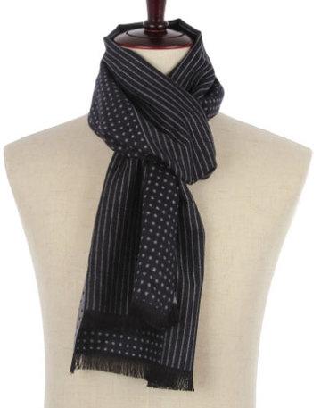 Heren sjaal navy blauw Dots Stripes|Warme heren shawl|Donkerblauw|Fijne franjes