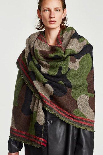 Lange dames sjaal Army Lady|Groen beige rood|Dikke kwaliteit|camouflage legerprint