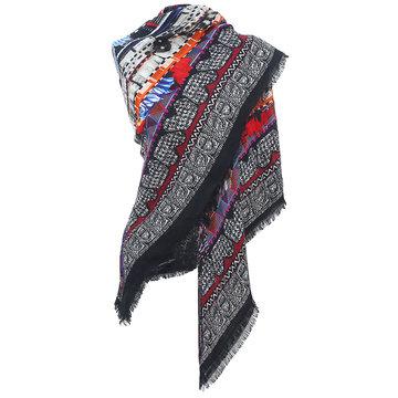 Grote vierkante sjaal Robin|Vierkante shawl|Rood Zwart Oranje meerkleurig