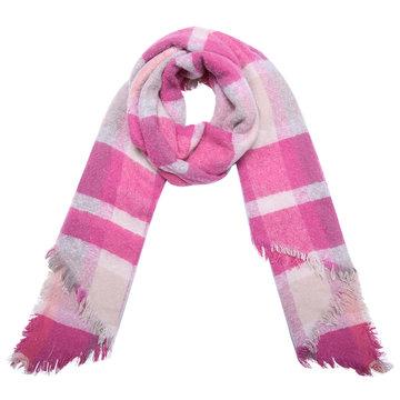 Lange warme dames sjaal Double Check|Lange shawl|Geruit geblokt|Roze fuchsia beige