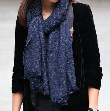 Warme dames sjaal Glitter Glitter|Lange dames shawl|Blauw glitter