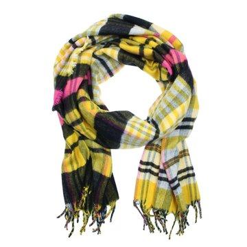 Warme dames sjaal Nena|Geel zwart roze|Geblokt Geruit|Lange dames shawl
