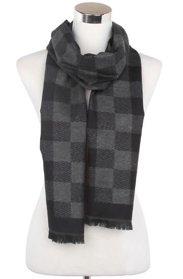 Heren sjaal Diagonal Zigzag Grijs|Warme heren shawl|Licht grijs antraciet|Fijne franjes