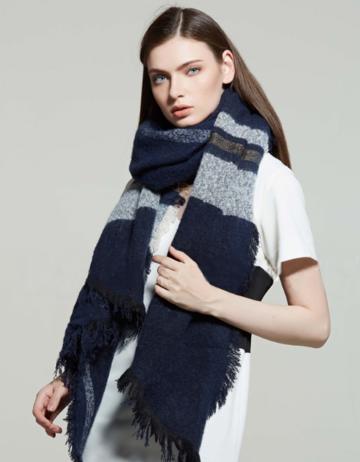 Warme dames sjaal Wide Stripe|Blauw wit grijs|Gestreept Geruit|Lange dames shawl