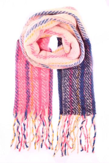Warme dames sjaal Amy|Blauw roze|Gestreept Geruit|Lange dames shawl