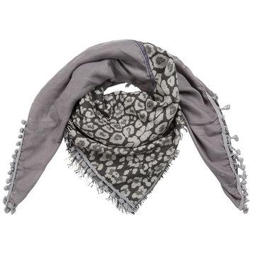 Grote grijze vierkante sjaal Wildlife|Vierkante shawl|Luipaardprint geruit|grijs wit