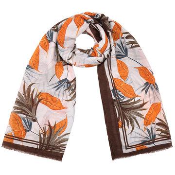Lange dames sjaal Botanic Bali|Lange shawl|Oranje bruin|Bladerprint
