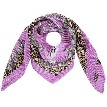 Vierkante zijdezachte dames sjaal Summer is Here|Vierkante shawl|Satijn| Paars Luipaard