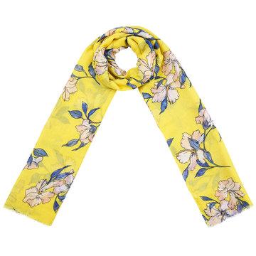 Lange dames sjaal Spring Blossom|Lange shawl|Geel blauw roze|bloemenprint
