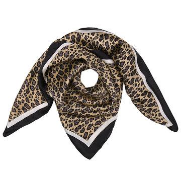 Vierkante zijdezachte dames sjaal Silky Leo Art|Vierkante shawl|Satijn|Zwart bruin|Luipaardprint