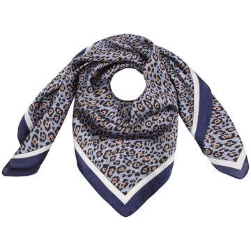 Vierkante zijdezachte dames sjaal Silky Leo Art|Vierkante shawl|Satijn|Blauw bruin|Luipaardprint