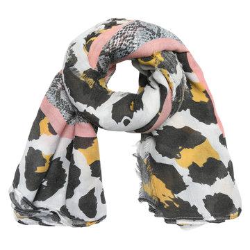Lange dames sjaal Jungle Wildlife Voorjaars shawl Slangenprint Luipaard Geel roze grijs
