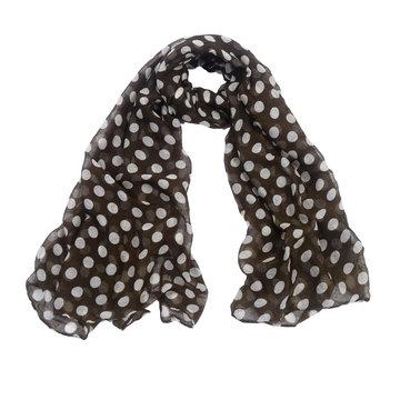 Lange dames sjaal Green Dots Lange shawl Stippen Groen wit