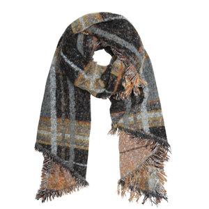 Tartan women's scarf Cold Days|Long ladies shawl|Black brown yellow