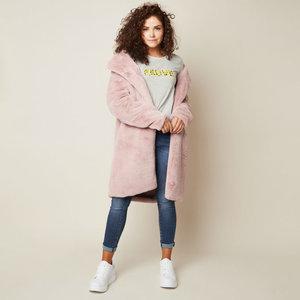 Faux fur jas Winter Bliss|Roze mantel|nepbont jas
