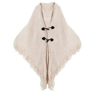 Trendy gebreide poncho White Angel Driehoek sjaal Wit Zacht acryl