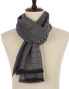 Heren sjaal Houndstooth dot|Warme heren shawl|Grijs| Gestipt geruit houndstooth|Fijne franjes