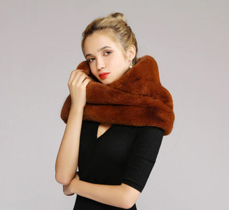 Faux fur col sjaal|Bruin|Tube shawl|col sjaal|Nep bont