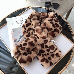 Faux fur lange sjaal Winter Animal|Bruin|Luipaard print|Nep bont