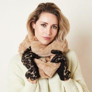 Faux fur col sjaal Furry Loop|Beige|Tube shawl|col sjaal|Nep bont