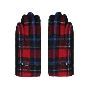 Zachte dames handschoenen Scotland Rood blauw Geruit Geblokt