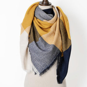 Womens scarf Multi Blocks|Square shawl|Blue yellow|Tartan|Extra soft