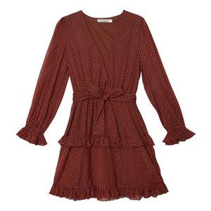 Ruffle jurk Gold Winter|Roestbruin goud|Lange mouwen
