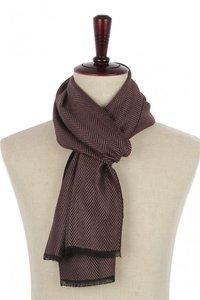 Heren sjaal Zigzag|Warme heren shawl|Chocolade bruin|Fijne franjes